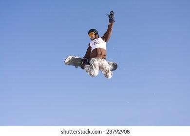ALMATY, KAZAKHSTAN- JANUARY 24: Mercur Open Cup snowboarder competing in the halfpipe January 24, 2009 in Almaty, Kazakhstan.