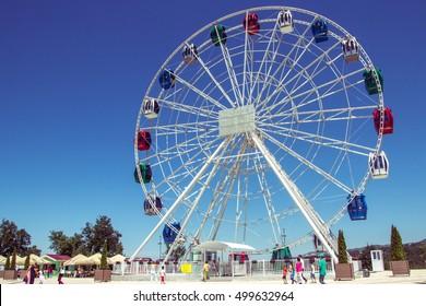 Almaty, Kazakhstan - July 20: Ferris wheel at Koktobe hill, Almaty, Kazakhstan