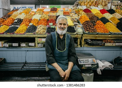 ALMATY, KAZAKHSTAN: Local people selling dried fruits and assorted nuts in Green Bazaar, Almaty.