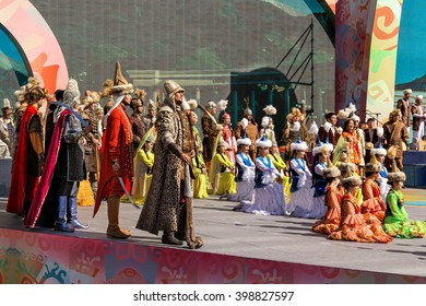 Almaty, Kazakhstan -March 22, 2016. Asian carnival on the  square of Almaty in honor of Nauryz holiday. Nauryz spring holiday, the day of the vernal equinox, is celebrated in all eastern cultures