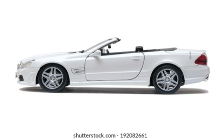 ALMATY, KAZAKHSTAN - May 10, 2014 - Collectible toy Mercedes-Benz SL 550 cabriolet isolated on white background