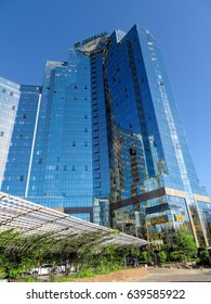 ALMATY, KAZAKHSTAN - MAY 14, 2017: Business Center Nurly Tau in Almaty, Kazakhstan. Made in the style of Hi-Tech, repeating silhouettes of mountains Zailisky Alatau. Construction company - Basis A.