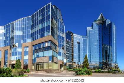 ALMATY, KAZAKHSTAN - MAY 14, 2017: Panoramic view of Business Center Nurly Tau. Made in the style of Hi-Tech, repeating silhouettes of mountains Zailisky Alatau. Construction company - Basis A.