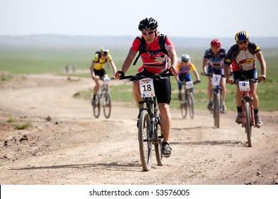 "ALMATY, KAZAKHSTAN - MAY 2: A.Monastyrsky (N18)  in action at Adventure mountain bike marathon in desert ""Jeyran Trophy 09"" May 2, 2009 in Almaty, Kazakhstan."