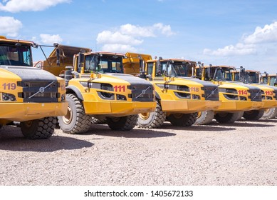 Almaty, Kazakhstan - May 20, 2019: Volvo A45GF articulated yellow dump truck in the mine.