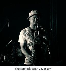 "ALMATY, KAZAKHSTAN - MAY 6: Soil & Pimp Sessions music band. ""The 4th International Jazzystan Festival. WE ARE ONE. in Almaty Towers"" May 06, 2011 in Almaty, Kazakhstan."