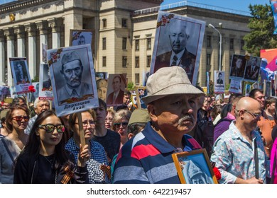 ALMATY, KAZAKHSTAN - MAY 9: Immortal Regiment march during the Victory Day celebrations victory in the World War II) in Almaty, Kazakhstan, Park 28 Panfilov Guardsmen, May 9, 2017.