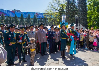ALMATY, KAZAKHSTAN - MAY 9: Victory Day celebration (victory in the World War II) in Almaty, Kazakhstan, Park 28 Panfilov Guardsmen, May 9, 2017.