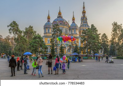 ALMATY, KAZAKHSTAN - NOVEMBER 5, 2014: People at the Ascension Orthodox Cathedral