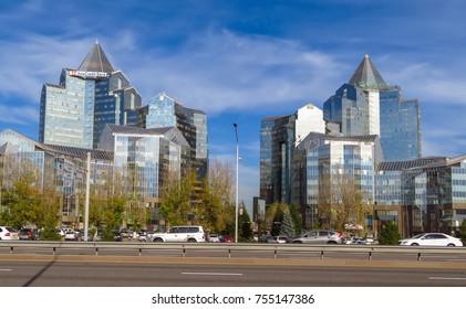 Almaty, Kazakhstan - November 9, 2017: Business Center Nurly Tau in Almaty, Kazakhstan. Made in the style of Hi-Tech, repeating silhouettes of mountains Zailisky Alatau.