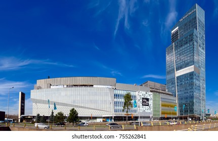 Almaty, Kazakhstan - November 9, 2017: The Ritz-Carlton Hotel and Esentai Mall on Al-Farabi street in Almaty, Kazakhstan. It is a complex of buildings of Business Centre of Esentai Tower.