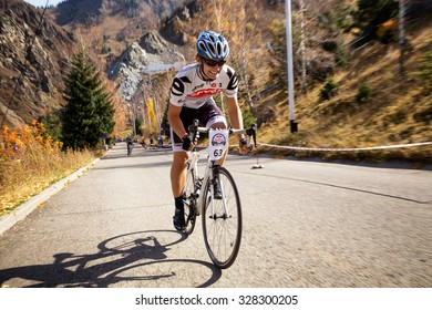 ALMATY, KAZAKHSTAN - OCT 10, 2015: A.Zaintcev (N63) in action at Red Bull Hill Chasers 2015