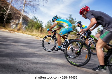 ALMATY, KAZAKHSTAN - OCT 10, 2015: Unknown riders in action at Red Bull Hill Chasers 2015