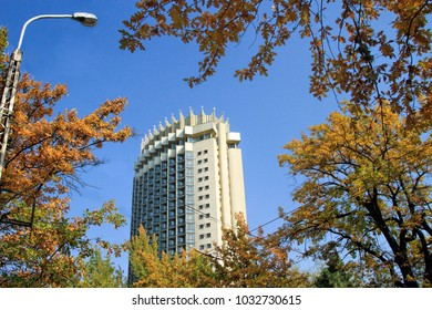ALMATY, KAZAKHSTAN - October 15, 2017: Kazakhstan Hotel in Almaty, Kazakhstan.  Kazakhstan Hotel was constructed  in 1970 to stand an earthquake that measures 9.0 on the Richter scale.