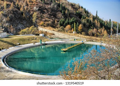 ALMATY, KAZAKHSTAN - October, 15, 2017 Water reservoir for The Medeo (or Medeu) outdoor speed skating and bandy rink located in a mountain valley on the south-eastern outskirts of Almaty, Kazakhstan.