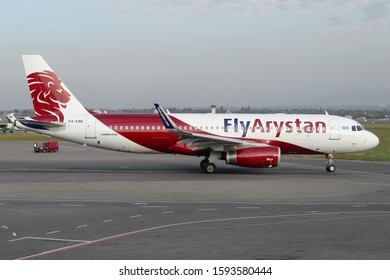 Almaty / Kazakhstan - October 22 2019: Fly Arystan Airbus A320 P4-KBB in Almaty International Airport. Twin engine single aisle narrow body aircraft of FlyArystan. Low cost subsidiary of Air Astana.