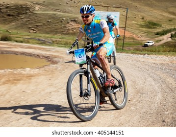 "ALMATY, KAZAKHSTAN - SEP 06, 2015: I.Makhmutov (N6) - athlete with physical disabilities in action at Adventure mountain bike cross-country competition in mountains ""Bartogay Marathon 2015"""