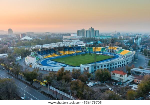 ALMATY, KAZAKHSTAN - September 15, 2016: Central Stadium in the historic centre of Almaty city, Kazakhstan