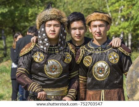 Almaty, Kazakhstan - September 2017: Historical reconstruction at Kazakhstan state university campus
