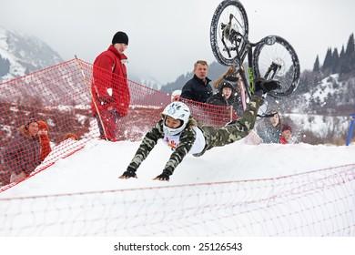 Almaty, Kazakstan - February 15: Red Bull Snow BikeCross, February 15, 2009 in Almaty, Kazakstan