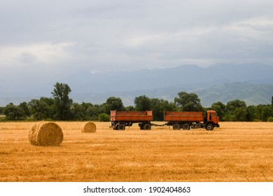 Almaty, Qazaqstan - June, 23, 2020: Truck with trailer KAMAZ is ready to load hay on an agricultural field during harvest in the central asia. Copy space.