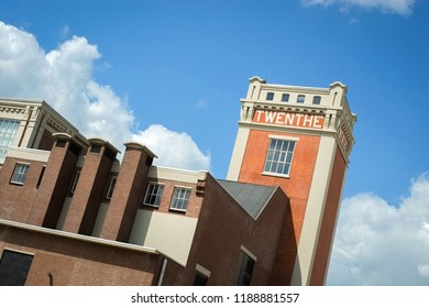 Almelo, The Netherlands – June 12, 2015: A tower in the city of Almelo (The Netherlands), that says  'Twente'. Twente is the name of a region in the eastern part of the Netherlands.