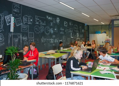 Almelo, The Netherlands. June, 2018. High school in a small town. European education. The interior of the educational institution. Classrooms for creativity, hairdressing and computer classes.