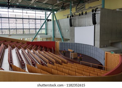 Almelo, The Netherlands. June, 2018. High school in a small town. European education. The interior of the educational institution. Classroom.