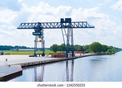 ALMELO, NETHERLANDS - JUNE 4, 2017: Newly build inland container terminal with only a single crane