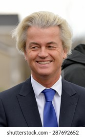 ALMELO, NETHERLANDS - MARCH 02, 2015: : Portrait of political leader Geert Wilders of the Dutch center right party PVV
