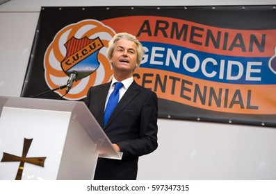 ALMELO, NETHERLANDS - MARCH 02, 2015: Political leader Geert Wilders of the Dutch center right party PVV is giving a speach during the remembrance of the Armenian genocide