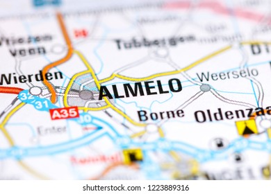 Almelo. Netherlands on a map