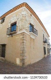 Almendralejo, Spain. January 26th, 2018: Town Hall Building former Palace of Monsalud, Almendralejo, Badajoz, Spain. Corner Balcony