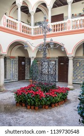 Almendralejo, Spain. January 26th, 2018: Town Hall Building former Palace of Monsalud, Almendralejo, Badajoz, Spain. Lower floor courtyard