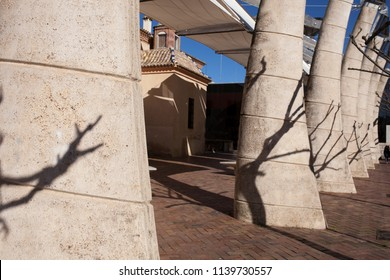 Almendralejo, Spain. January 26th, 2018: Town Hall Building former Palace of Monsalud, Almendralejo, Badajoz, Spain. Exterior Square