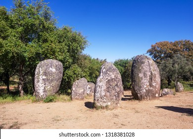 Almendres Cromlech, an Ancient Megalithic Monument of Ceremonial Standing Stones or Menhirs near Evora in Portugal