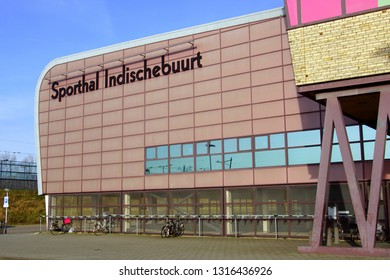 Almere Buiten, the Netherlands - February 18, 2019: Wall and logo of Sports Hall  Indischebuurt in the city of Almere.