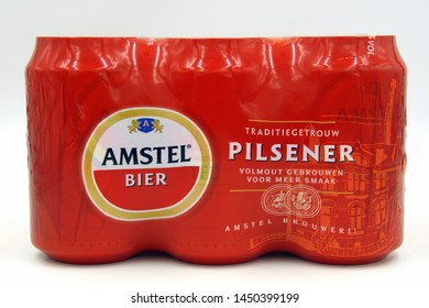 Almere Duin, the Netherlands - July 14, 2019: Six Pack of Dutch Amstel beer against a white background.