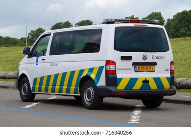 Almere, Flevoland, The Netherlands - July 11, 2016: Dutch Belastingdienst (Douane) van parked on a public parking lot.