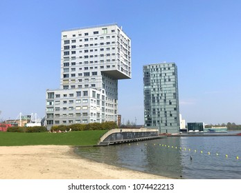 Almere, Flevoland, The Netherlands - March 22, 2018: Skyline apartment buildings of Almere Stad, Flevoland, the Netherlands - Silverline and Almere Towers.