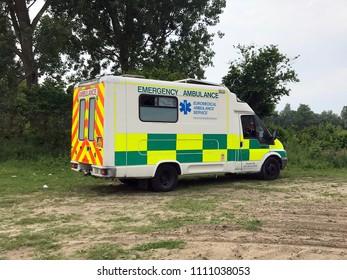 Almere Haven, Netherlands - June 9, 2018: Old U.K. Ambulance emergency vehicle.