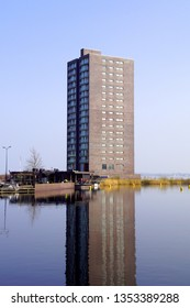 Almere Haven, the Netherlands - March 29, 2019:  Apartment building in the harbor of Almere, Flevoland.