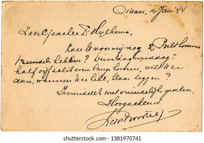 Almere / Netherlands - 04/27/2019: A very old aged postcard with beautiful handwriting