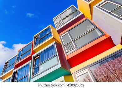 Almere, Netherlands - April 19, 2016: modern stackable student apartments called spaceboxes in Almere. Almere is famous for its extraordinary and experimental architecture