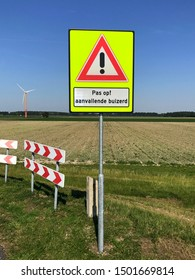 Almere, the Netherlands - August 24, 2019: Dutch attention sign to be ware of attacking buzzards.