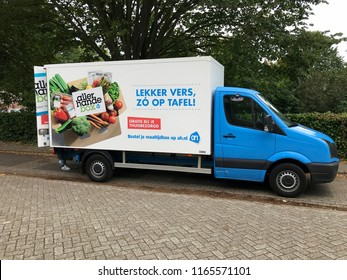 Almere, the Netherlands - August 27, 2018: Dutch Albert Heijn grocery delivery truck parked on a public road in the city of Almere.