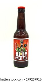 Almere, the Netherlands - August 9, 2020: Bottle of Stijl Ally Pale Ale, brewed by Brouwerij Stijl.