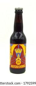 Almere, the Netherlands - August 9, 2020: Bottle of Stijl Basterd Dubbel, brewed by Brouwerij Stijl.