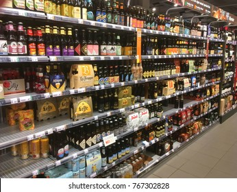 Almere, The Netherlands-  December 2, 2017: assortment of special  beer bottles on display at a supermarket shelf.