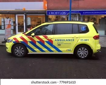Almere, The Netherlands - December 22, 2017: Dutch Volkswagen Touran rapid responder Ambulance.